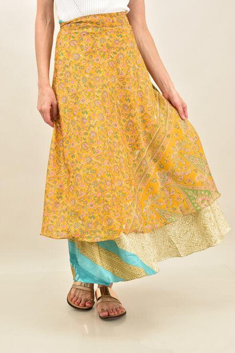 Γυναικεία φούστα μεταξωτή διπλής όψεως boho - Κίτρινο