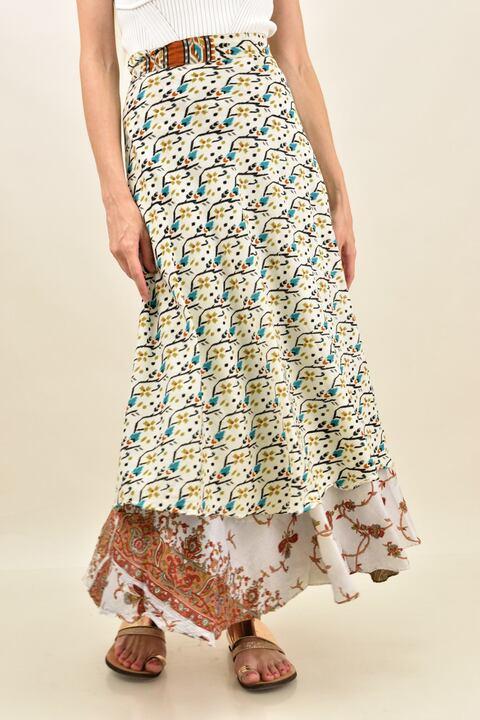 Γυναικεία φούστα μεταξωτή διπλής όψεως boho - Εκρού