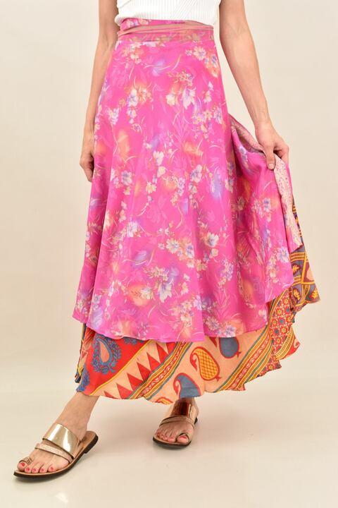 Γυναικεία φούστα μεταξωτή διπλής όψεως boho - Ροζ