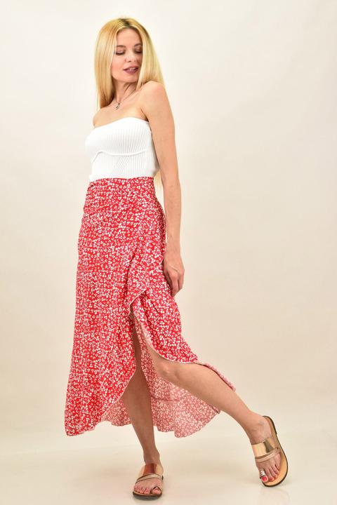 Κρουαζέ φούστα φλοράλ με βολάν  -