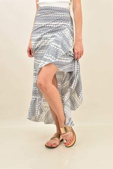 Κρουαζέ φούστα εμπριμέ με βολάν  - Λευκό