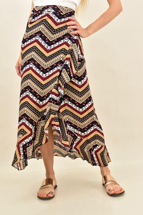 Κρουαζέ φούστα μισόνι με βολάν  - Μπορντώ