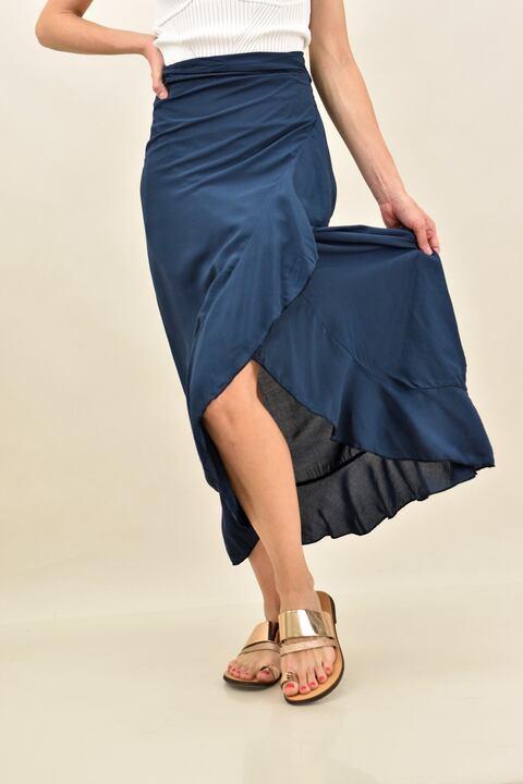 Κρουαζέ φούστα μονόχρωμη με βολάν  - Μπλε