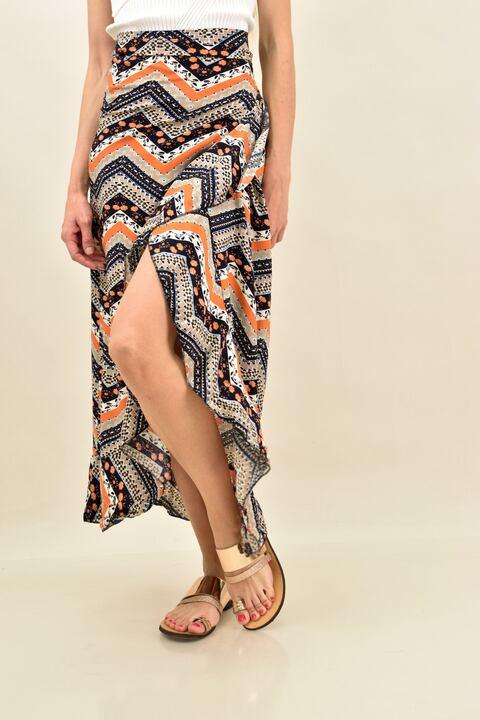 Κρουαζέ φούστα μισόνι με βολάν  - Πορτοκαλί