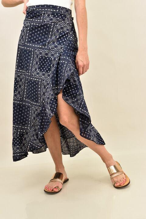 Κρουαζέ φούστα με βολάν με μοτίβο - Μπλε Σκουρό