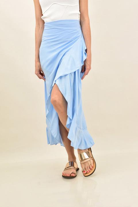 Κρουαζέ φούστα μονόχρωμη με βολάν  - Γαλάζιο