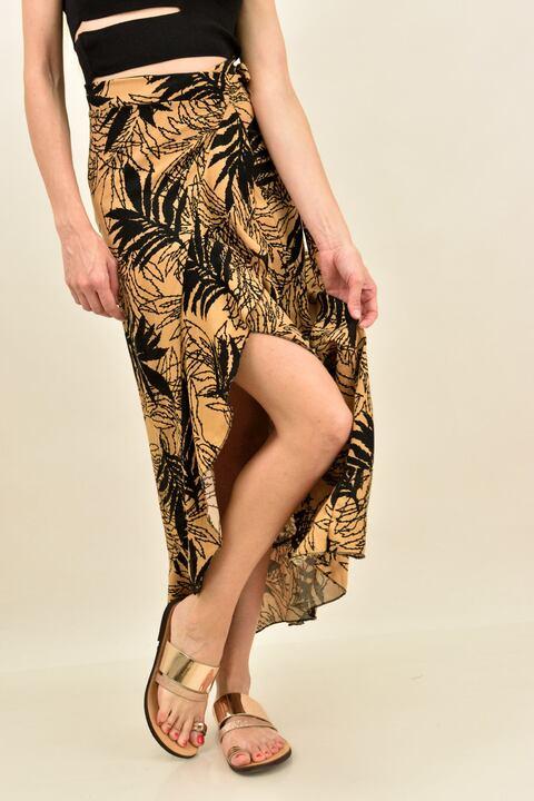 Κρουαζέ φούστα φλοράλ με βολάν  - Μπεζ