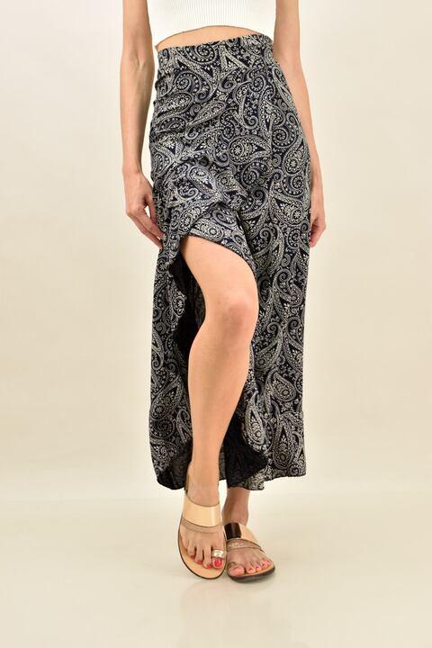 Κρουαζέ φούστα με βολάν και σχέδιο λαχούρια - Μαύρο