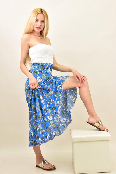 Κρουαζέ φούστα φλοράλ με βολάν  - Μπλε