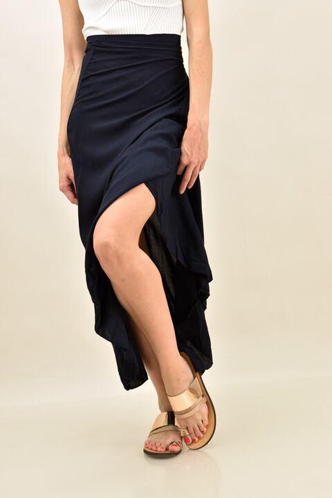 Κρουαζέ φούστα με βολάν  - Μπλε Σκούρο