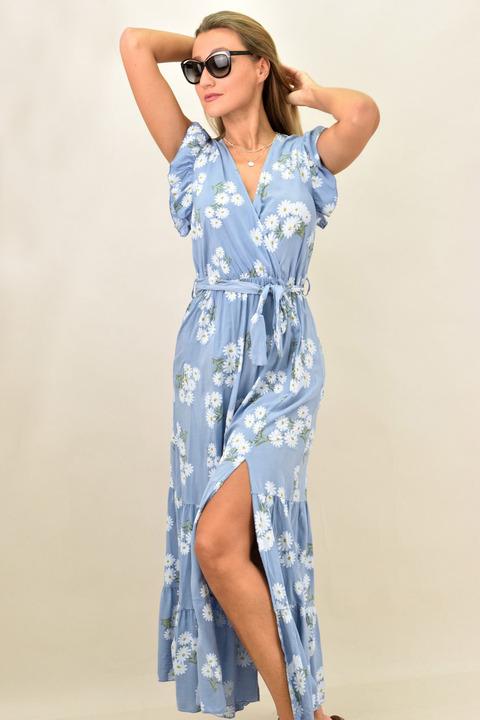 Γυναικείο φόρεμα κρουαζέ και ζώνη - Μπλε