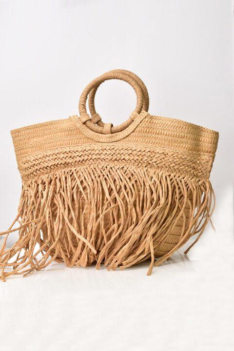 Ψάθινη τσάντα  με κρόσια - Μπεζ