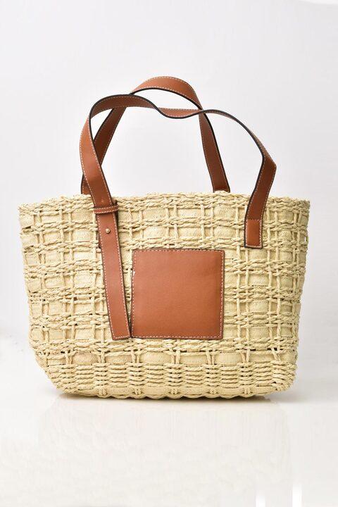 Ψάθινη τσάντα  - Εκρού