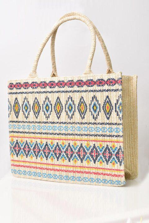Ψάθινη τσάντα εμπριμέ - Εκρού