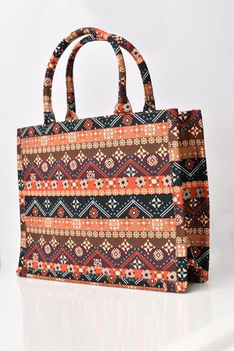 Υφασμάτινη τσάντα εμπριμέ - Καφέ