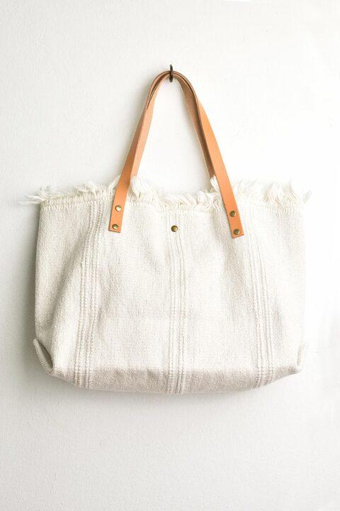 Ψάθινη τσάντα λευκή - Λευκό