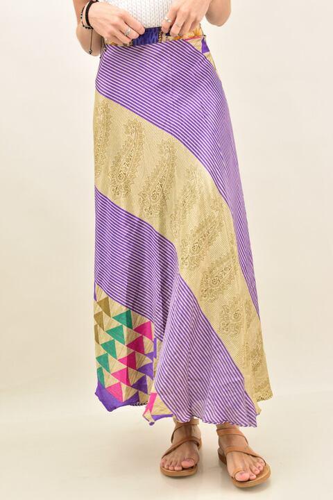 Γυναικεία φούστα μεταξωτή διπλής όψεως boho - Μωβ