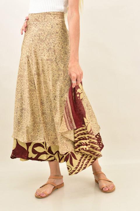 Γυναικεία φούστα μεταξωτή διπλής όψεως boho - Μπεζ