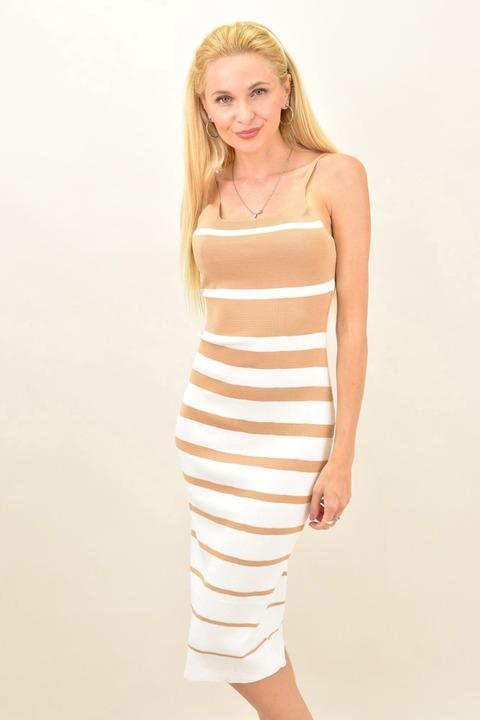 Γυναικείο εφαρμοστό ριγέ φόρεμα  - Μπεζ
