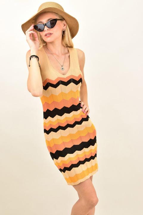 Γυναικείο εφαρμοστό ριγέ φόρεμα με σχέδιο - Κοραλί