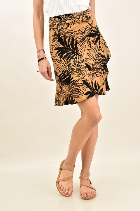 Φούστα φάκελος με σχέδιο φοίνικες - Καφέ