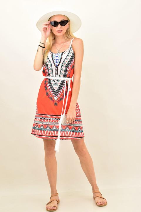 Γυναικείο φόρεμα εμπριμέ - Πορτοκαλί