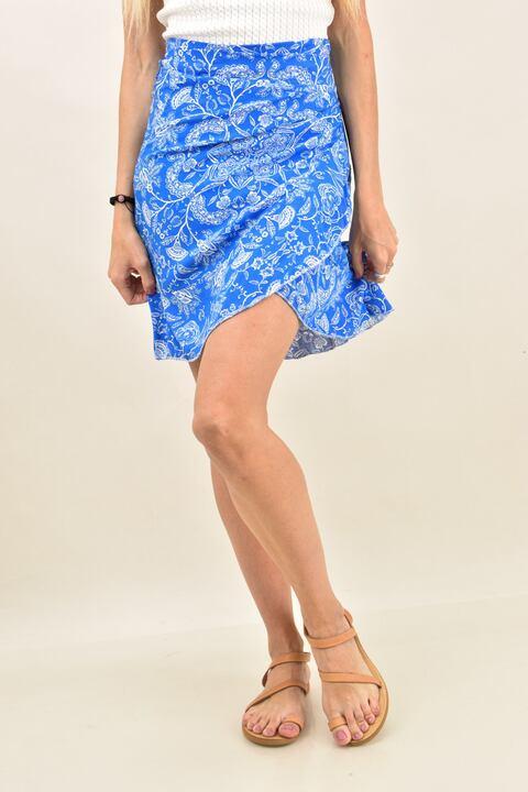 Γυναικεία φούστα με σχέδιο λαχούρια - Μπλε