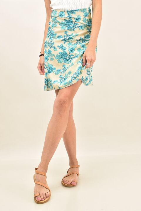 Γυναικεία φούστα με σχέδιο λουλούδια - Εκρού