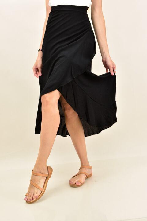 Κρουαζέ φούστα με βολάν  - Μαύρο