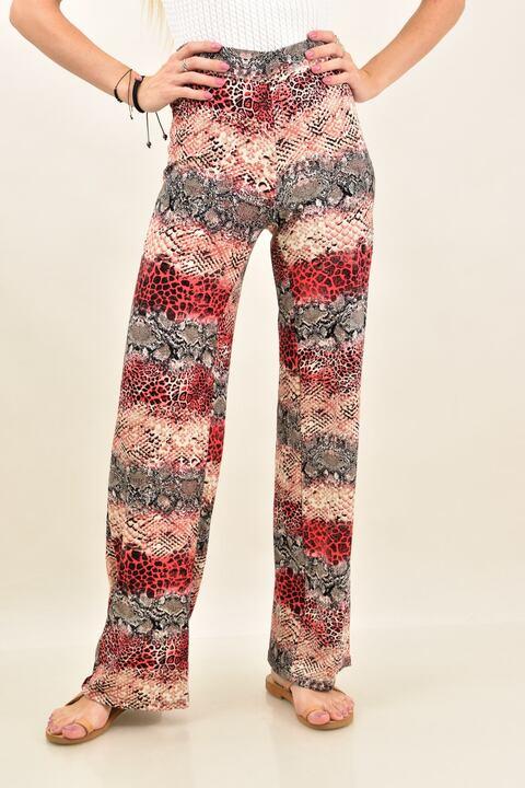 Γυναικεία παντελόνα croco πολύχρωμη - Animal Print