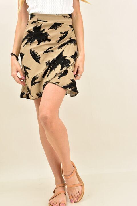Γυναικεία φούστα με σχέδιο φοίνικες - Μπεζ