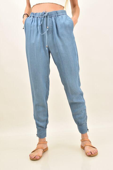 Γυναικεία λινή παντελόνα τζιν - Μπλε Τζιν