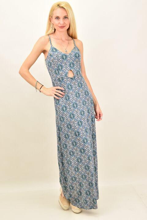 Γυναικείο φόρεμα maxi εμπριμέ - Μπλε