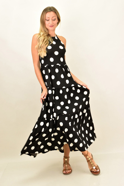 Mάξι φόρεμα πουά - Μαύρο