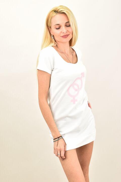 Γυναικείο μπλουζοφόρεμα με σχέδιο φούτερ - Λευκό