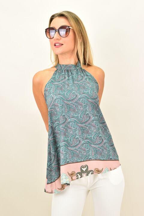 Αμάνικο μπλουζάκι με ομορφο σχέδιο - Πράσινο