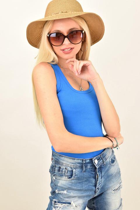 Γυναικεία μπλούζα ριπ με αθλητική πλάτη - Μπλε ρουά