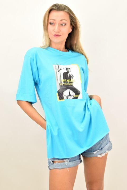 """Γυναικεία oversized μπλούζα """"MUSE"""" - Μπλε"""