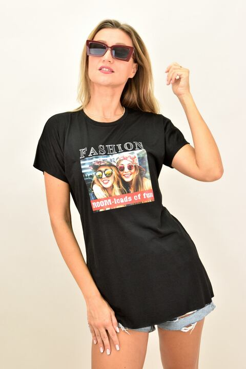 """Γυναικεία oversized μπλούζα """"FASHION"""" - Μαύρο"""