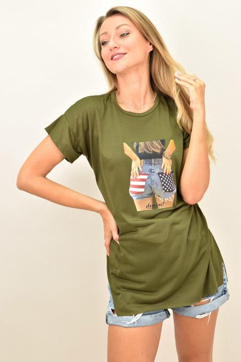 """Γυναικεία oversized μπλούζα """"Denim"""" - Χακί"""