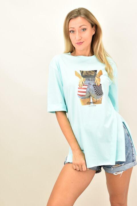 """Γυναικεία oversized μπλούζα """"Denim"""" - Γαλάζιο"""