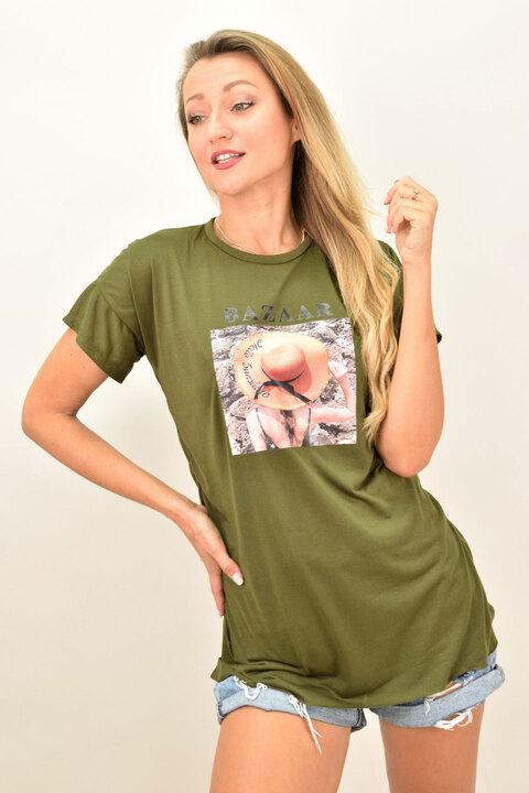 """Γυναικεία oversized μπλούζα """"Bazaar"""" - Χακί"""