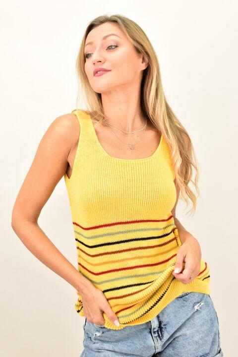 Πλεκτή μπλούζα με λεπτές ρίγες  - Κίτρινο