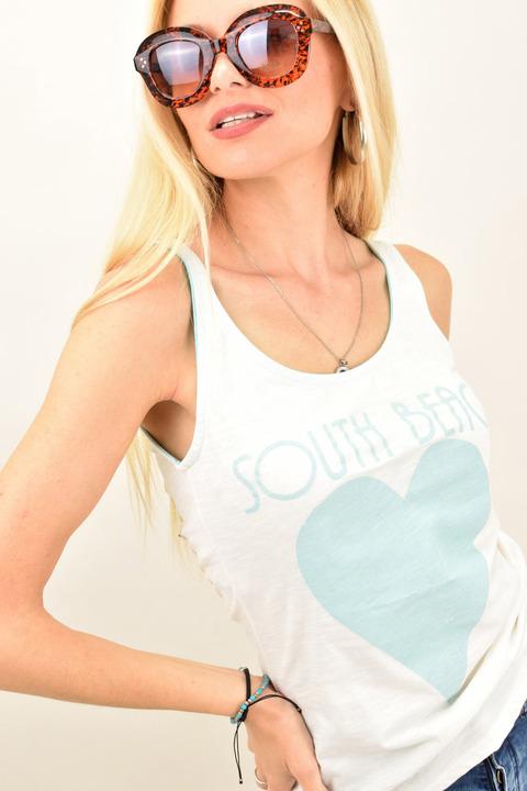 Γυναικεία μπλούζα με καρδιά - Γαλάζιο