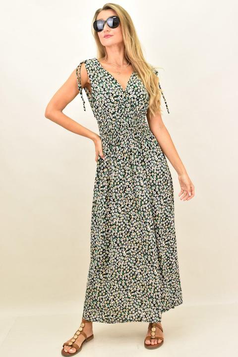 Maxi φόρεμα φλοράλ με λάστιχο  - Μαύρο