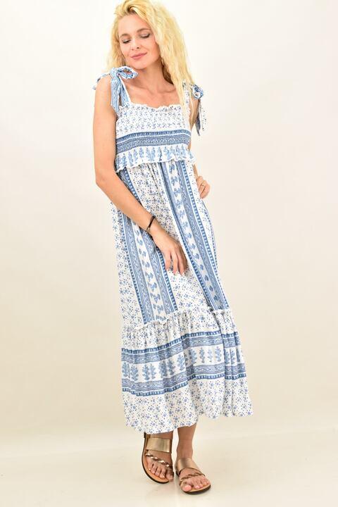 Φόρεμα εμπριμέ με βολάν - Γαλάζιο