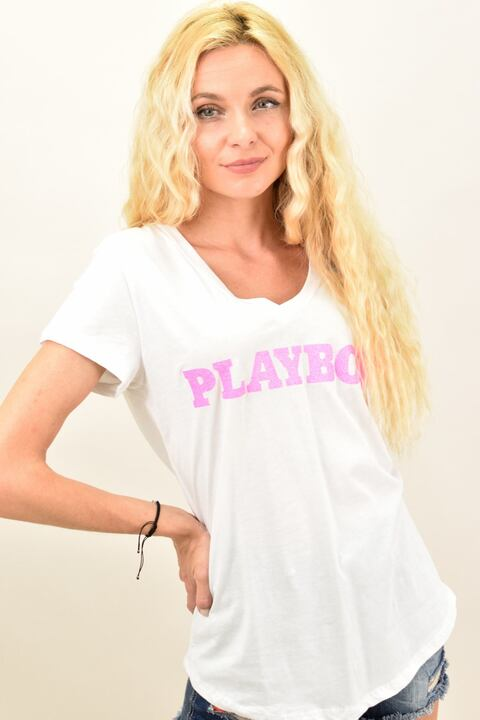 """Γυναικεία μπλούζα με V λαιμόκοψη και τύπωμα """"PLAYBOY"""" - Λευκό"""