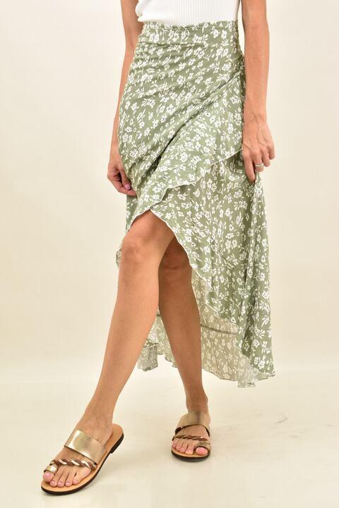 Φλοράλ φούστα φάκελος - Λαδί