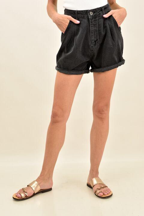 Γυναικείο τζιν σορτσάκι - Μαύρο