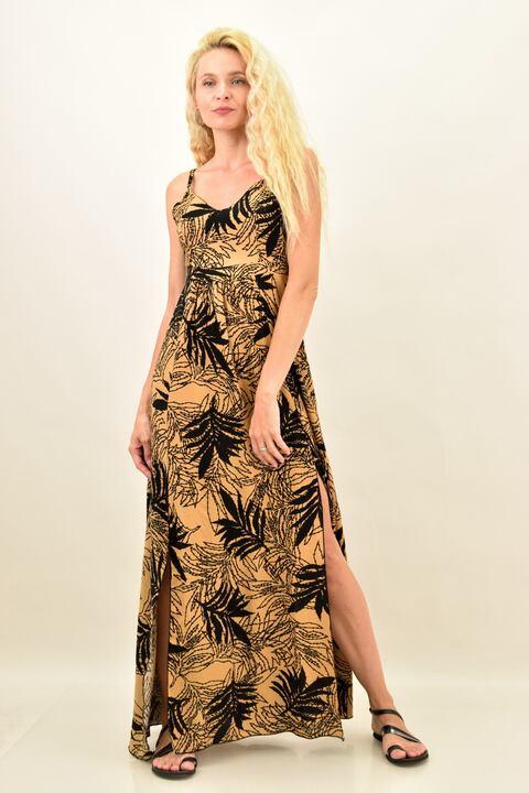 Γυναικείο μακρύ φόρεμα με ανοίγματα - Καφέ